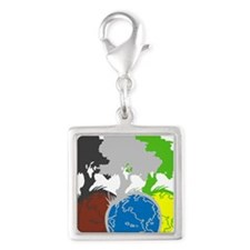 OYOOS Trees Earth design Silver Square Charm