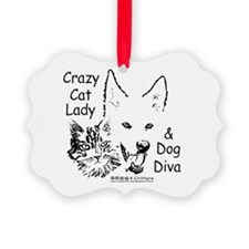 Paws4Critters Crazy Cat Lady Dog Diva Ornament