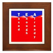 Tea on Sea of Red Ink Framed Tile