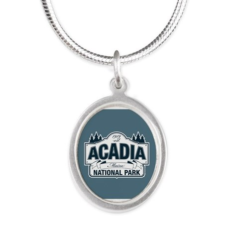 Acadia National Park Silver Oval Necklace