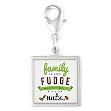 Funny Family Fudge Silver Square Charm