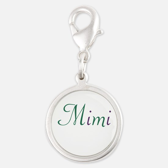 Mimi Green and Purple Silver Round Charm