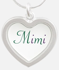 Mimi Green and Purple Silver Heart Necklace