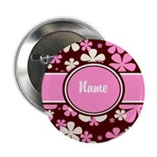 "Pink Floral Personalized 2.25"" Button"