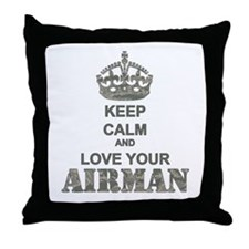 Keep Calm and LOVE Your Airman Throw Pillow