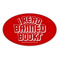 """I Read Banned Books"" Oval Decal"