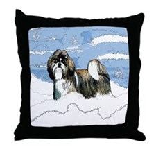 Shih Tzu Christmas Holiday Angi Throw Pillow