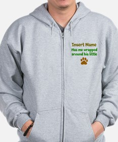 My dog wrapped around finger Zip Hoodie