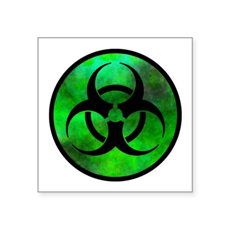 Green Fog Biohazard Symbol Oval Sticker