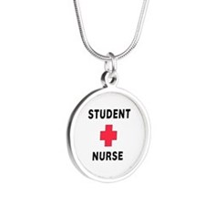 Student Nurse Silver Round Necklace