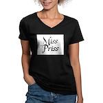 Miss Priss Women's V-Neck Dark T-Shirt