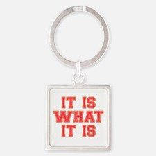It Is What It Is Pink Square Keychain