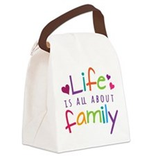 Life Is All About Family Canvas Lunch Bag
