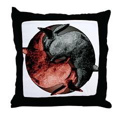 Yin Yang Rabbits Throw Pillow