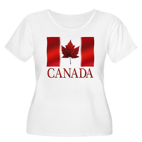 Canada Flag Women's Scoop Neck Plus Size T-Shirt