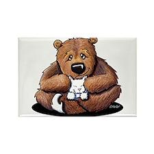 Kitty Bear Hug Rectangle Magnet