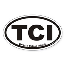 Turks & Caicos Islands TCI Euro Oval Bumper Stickers