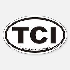 Turks & Caicos Islands TCI Euro Oval Bumper Stickers