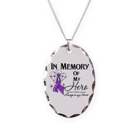 In Memory Alzheimers Necklace Oval Charm