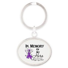 In Memory Alzheimers Oval Keychain