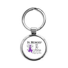 In Memory Alzheimers Round Keychain