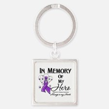 In Memory Alzheimers Square Keychain