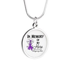 In Memory Alzheimers Silver Round Necklace