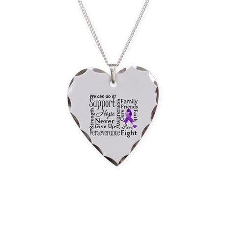 Alzheimers Disease Words Necklace Heart Charm