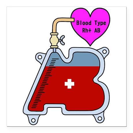 "Blood type AB Square Car Magnet 3"" x 3"""