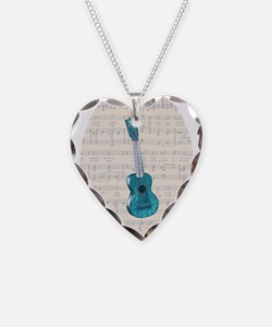 Cute Ukulele Necklace Heart Charm