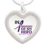Alzheimer Disease In Memory Silver Heart Necklace