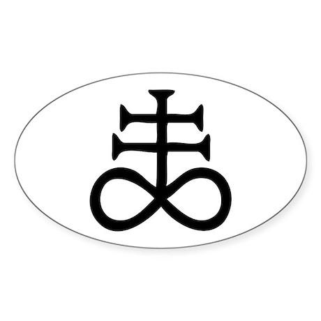 Satanic Cross Sticker (Oval)
