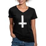 Upside Down Cross Women's V-Neck Dark T-Shirt