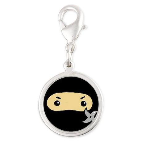 Tiny Ninja Silver Round Charm