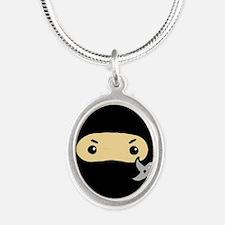 Tiny Ninja Silver Oval Necklace