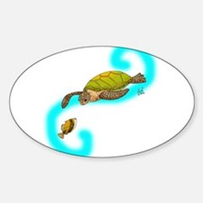 Curious Sea Turtle Oval Decal