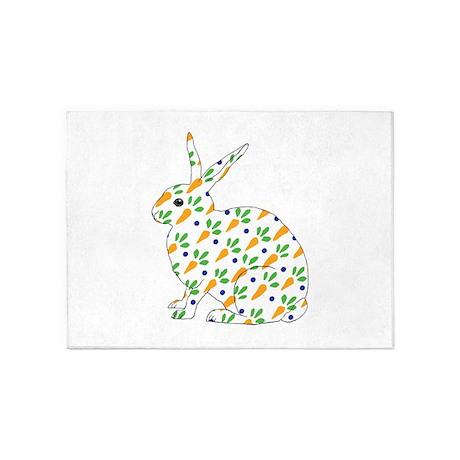 Carrot Calico Rabbit 5'x7'Area Rug