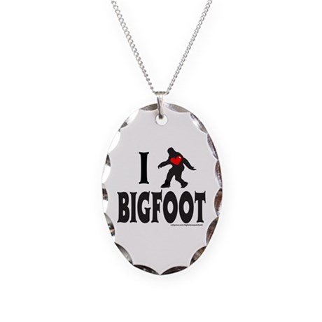 I HEART/LOVE BIGFOOT Necklace Oval Charm