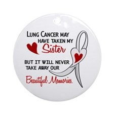 Beautiful Memories Lung Cancer Ornament (Round)