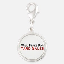 Will Brake For Yard Sales Silver Round Charm
