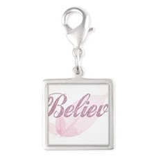 Believe Pink Silver Square Charm