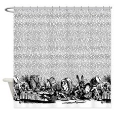 alice-vintage-border_bw_18x18.png Shower Curtain