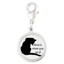 Home Cat Silver Round Charm