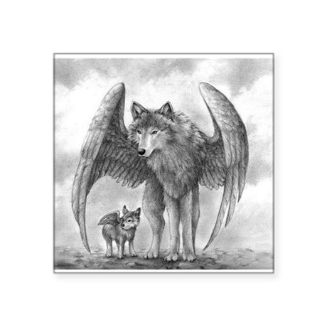 "Winged Wolves Square Sticker 3"" x 3"""