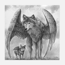 Winged Wolves Tile Coaster