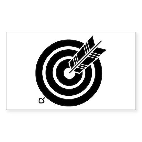 Arrow hit a round target Sticker (Rectangle)