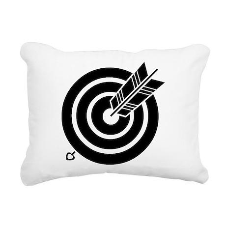 Arrow hit a round target Rectangular Canvas Pillow