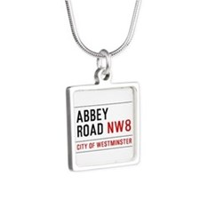 Abbey Road NW8 Silver Square Necklace