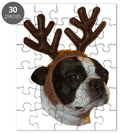 Boston Terrier Reindeer Puzzle
