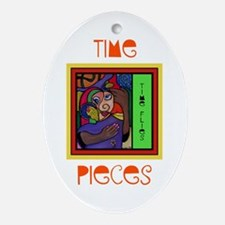 Time Flies Colorful Ornament (Oval)